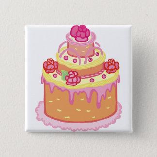 Wedding Cake Three Tiers 2 Inch Square Button