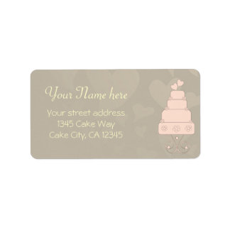 Wedding cake with hearts and flowers design label