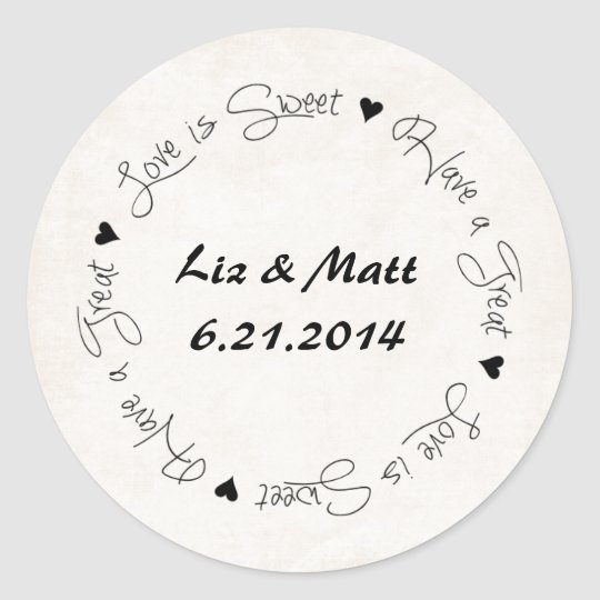 Wedding Candy Party Favour Sticker