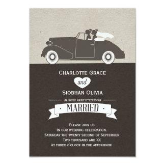 Wedding Car Two Bride Lesbian Wedding Card