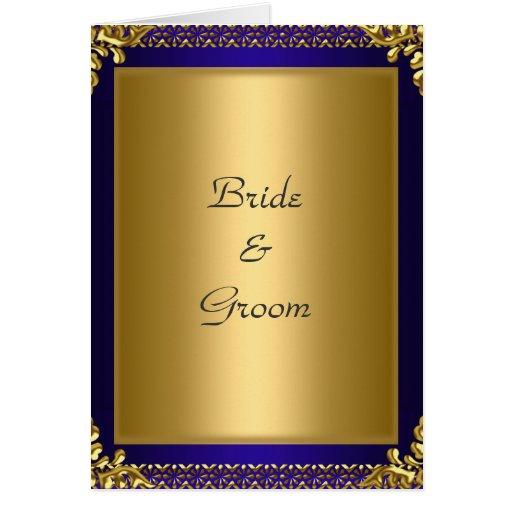 Wedding Card Invitation Gold Royal Blue Cards