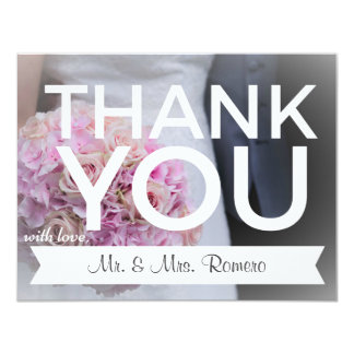 Wedding Card Purple Flowers Thank You Note