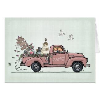 Wedding Card Vintage Car Pickup Truck