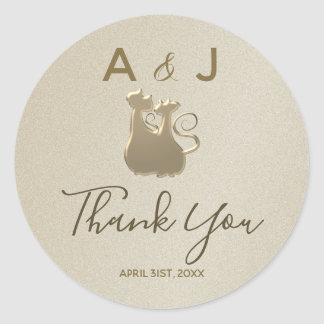 Wedding Cat Couple Golden Elegant Thank You Classic Round Sticker