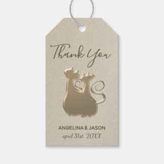 Wedding Cat Couple Golden Silhouette Elegant Chic Gift Tags