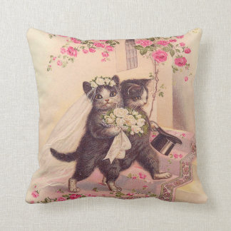 Wedding Cats Bride and Groom Throw Pillow