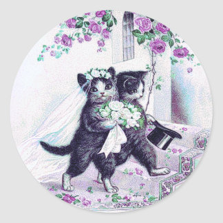 Wedding Cats Purple Special Occasion Classic Round Sticker