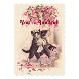 Wedding Cats Vintage Soft Pink Invitation