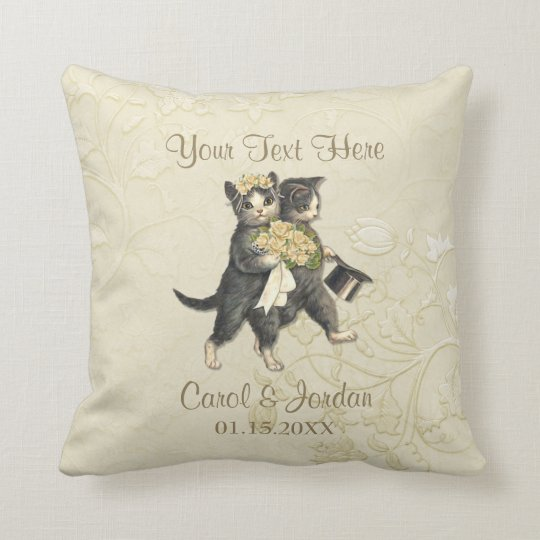 Wedding Cats Your Custom Text Throw Pillow