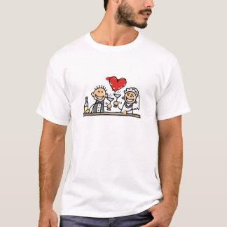 Wedding Celebration Cute Bride Groom Drawing T-Shirt
