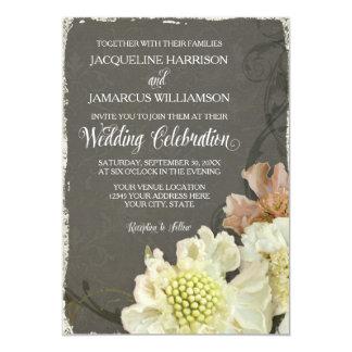 "Wedding Celebration Modern Painterly Fall Floral 5"" X 7"" Invitation Card"