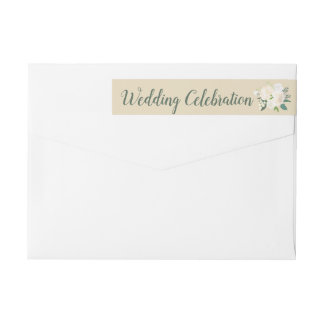 Wedding Celebration | Neutral Watercolor Blooms Wrap Around Label