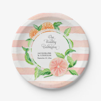 Wedding Celebration Pink Striped Citrus Orange Art Paper Plate