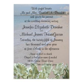 "Wedding Ceremony Beach with Blue Coral 6.5"" X 8.75"" Invitation Card"