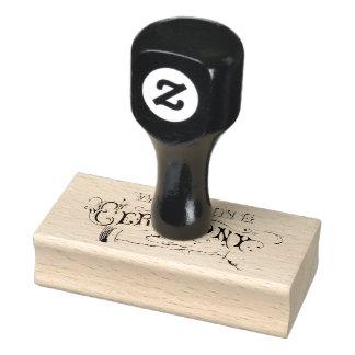 Wedding Ceremony Elegant Black Text Design Rubber Stamp