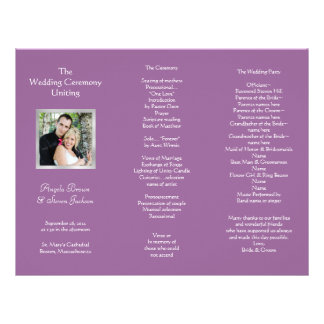 Wedding Ceremony Folded Program With Photo Personalized Letterhead