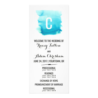 Wedding Ceremony Program Blue Watercolor Modern Rack Card Template