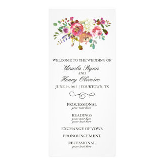 Wedding Ceremony Program Blush Gold Watercolor Rack Card Template
