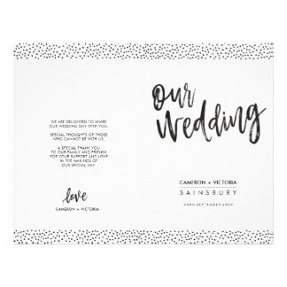 WEDDING CEREMONY PROGRAM brush type black confetti Flyer