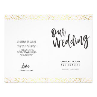 WEDDING CEREMONY PROGRAM brush type gold confetti Flyer