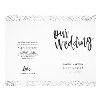 WEDDING CEREMONY PROGRAM brush type gray confetti Flyer