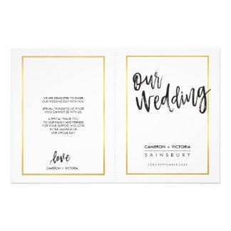 WEDDING CEREMONY PROGRAM brushed type gold frame Custom Flyer