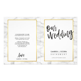 WEDDING CEREMONY PROGRAM gold grey marble Full Colour Flyer