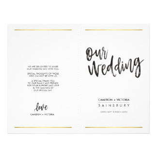 WEDDING CEREMONY PROGRAM simple handlettered type Flyer