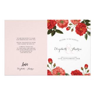 WEDDING CEREMONY PROGRAM vintage red roses floral Flyer