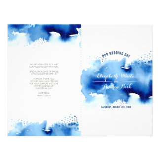 WEDDING CEREMONY stylish watercolor cool navy blue Flyer