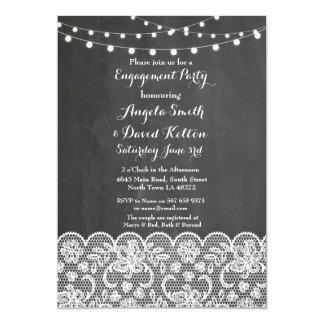 Wedding Chalk String Lights Lace Engagement Invite