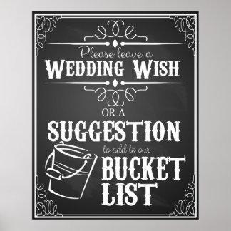 "Wedding chalkboard ""Wish list""  bucket list sign"