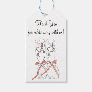 Wedding Champagne Flutes Thank You Gift Tags