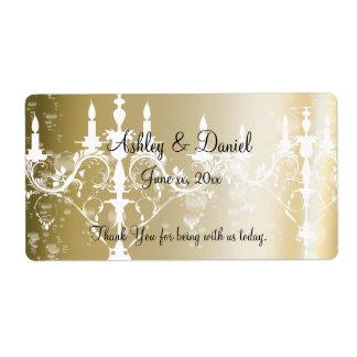 Wedding /Chandelier & Champagne Water/Wine Label