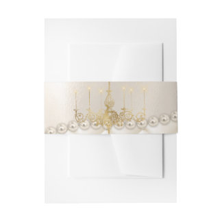Wedding Chandelier Lighting Ivory Pearls Belly Ban Invitation Belly Band