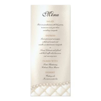 Wedding Chandelier Lighting Ivory Pearls Menu Card