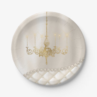 Wedding Chandelier Lighting Ivory Pearls Paper Paper Plate