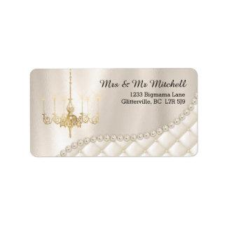 Wedding Chandelier Lighting Ivory Pearls Satin Label