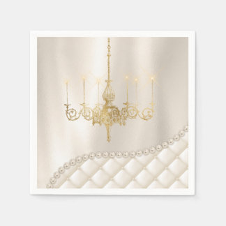 Wedding Chandelier Lighting Ivory Pearls Satin Paper Napkin