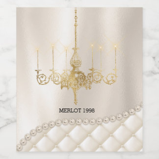 Wedding Chandelier Lighting Ivory Pearls Satin Wine Label
