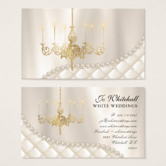 Wedding Chandelier Lighting Pearls Elegant Vintage Business Card