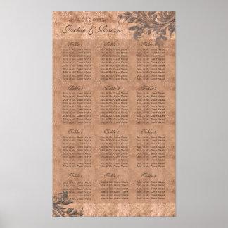 Wedding Chart Leaf Vintage Leopard Faux Suede Poster