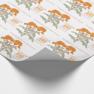 Wedding chrysanthemum orange name date wrap