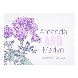 Wedding chrysanthemum purple wedding invite