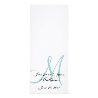 "Wedding Church Program Blue Monogram Linen 4"" X 9.25"" Invitation Card"