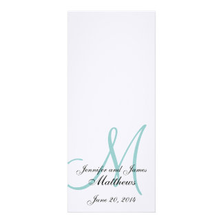 Wedding Church Program Blue Monogram Linen Personalized Announcement