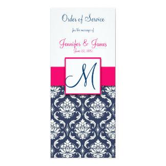 Wedding Church Program Hot Pink Navy Blue Damask 4x9.25 Paper Invitation Card