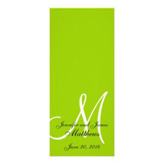 Wedding Church Program Monogram Apple Green White Personalized Invites