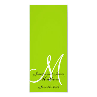 Wedding Church Program Monogram Apple Green White 4x9.25 Paper Invitation Card