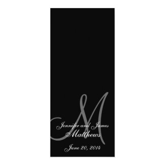 Wedding Church Program Monogram Black & White 4x9.25 Paper Invitation Card